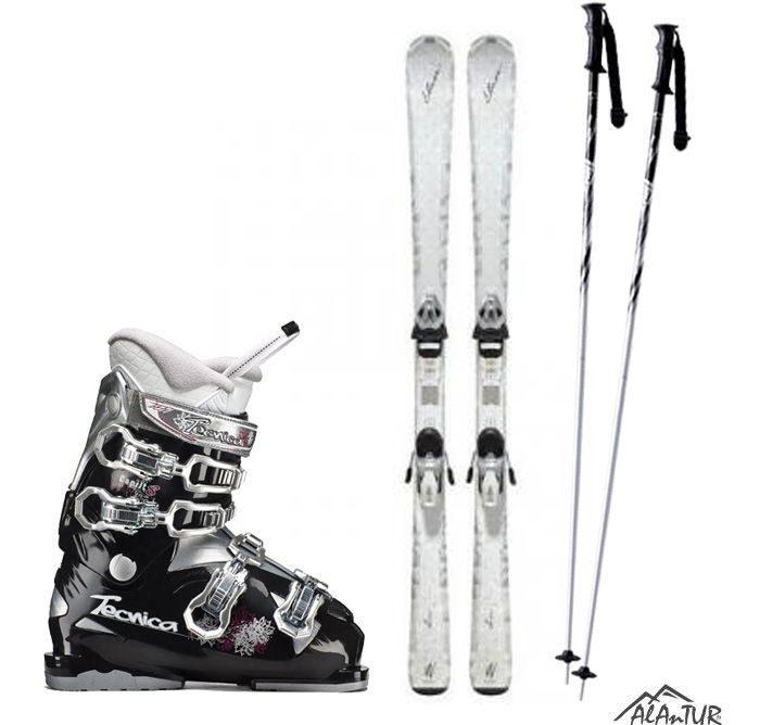 Комплект взрослый, лыжи, ботинки, палки.